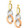 14K 3 Tri-Color Gold Dangle Hanging Earrings with Pushback
