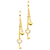 14K Yellow Gold Fancy Heart Key CZ Cubic Zirconia Dangle Hanging Earrings