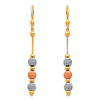 14K 3 Tri-color Gold Fancy Dangle Hanging Earrings