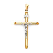 Classic Large 14K Two Tone Gold Crucifix Pendant