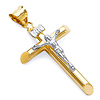14K Two Tone Gold Mini Crucifix Cross Charm Pendant