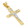 Carved 14K Two Tone Gold Medium Crucifix Pendant