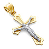 Italian 14K Two Tone Gold Medium Crucifix Pendant