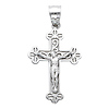 Fancy Clover 14K White Gold Crucifix Pendant