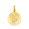 14K Yellow Gold Religious Saint Anthony Medal Charm Pendant