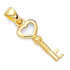 14K Yellow Gold Tiny Key to My Heart Charm Pendant