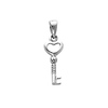 14K White Gold Tiny Key to My Heart Charm Pendant