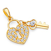 14K Yellow Gold Cubic Zirconia Small Heart Lock & Key Charm Pendant