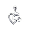 14K White Gold Interlocking Hearts Cubic Zirconia Charm Pendant
