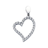 14K White Gold Cubic Zirconia Floating Heart Charm Pendant