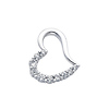 14K White Gold Cubic Zirconia Journey Heart Charm Pendant