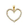 14K Yellow Gold Open Heart Cubic Zirconia Charm Pendant