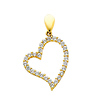 14K Yellow Gold Floating Cubic Zirconia Heart Charm Pendant