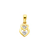14K Yellow Gold Interlocking Hearts CZ Cubic Zirconia Charm Pendant