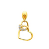 14K Yellow Gold Interlocking Hearts Cubic Zirconia Charm Pendant