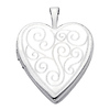 14K White Gold Engraved Heart Locket Pendant