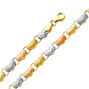 Tri-Color Diamond Cut Stampato Heart 14K Gold Bracelet