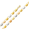 Diamond Cut Stampato Heart Tri-Color 14K Gold Bracelet