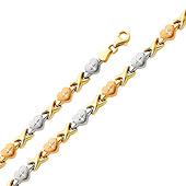 Tri-Color Diamond Cut Stampato Heart 14K Gold Bracelet