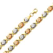 6mm Stampato XOXO Diamond Cut 14K Tri-Color Gold Bracelet