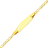 2.5mm Heart Baby Figaro 14K Yellow Gold ID  Bracelet