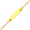 2.5mm White Pave Heart Figaro 14K Yellow Gold Baby ID Bracelet