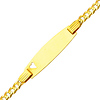 3.0mm Heart Concave Curb 14K Yellow Gold Baby ID Bracelet