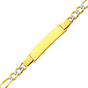 4.0mm White Pave Figaro 14K Yellow Gold Baby ID IBracelet
