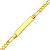3.0mm Hollow Figaro 14K Yellow Gold Baby ID  Bracelet