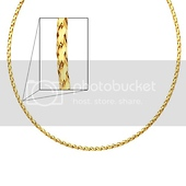 14K Yellow Gold 3mm Sparkle Omega Necklace with Lobster Clasp