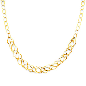 Wide Diamond-Shape 14K Yellow Gold Link Necklace