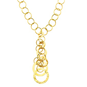 Women's 10mm Dangling Fashion Circle Link Gold Necklace
