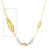 Fancy 14K Tri-Color Gold Link Necklace for Women