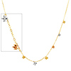 Designer Dangling Flowers 14K Tri-Color Gold Link Necklace
