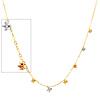 Designer Dangling Flowers 14K Tri-Color Gold Link Necklace