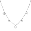 Fancy Dangling Heart 14K White Gold Women�s Link Chain Necklace