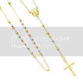 Long 14K Tri Color Gold 4mm Beads Our Lady Guadalupe Rosary Necklace 26in