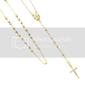 Long 14K Tri-color Gold 3mm Beads Our Lady Guadalupe Rosary Necklace