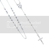 14K White Gold Long 26in 3mm Beads Our Lady Guadalupe Rosary Necklace
