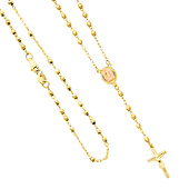 14K Yellow Gold 3mm Beads Our Lady Guadalupe Rosary Necklace