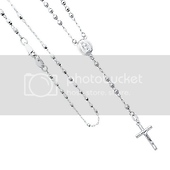 14K White Gold 3mm Beads Our Lady Guadalupe Rosary Necklace with Crucifix
