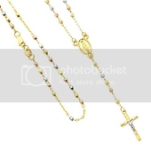 14K Tri-color Gold 2mm Beads Our Lady Guadalupe Rosary Necklace