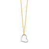 14K Yellow Gold Heart Hanging 1.0mm Rolo Cable Chain Necklace with Spring-ring Clasp
