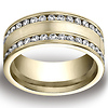 14K Yellow Gold Double Channel Set Satin Diamond Wedding Band (Size 6.5)