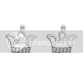 Rhodium Plated Crown CZ Stud Earrings