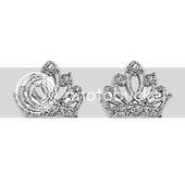Rhodium Plated Tiara CZ Stud Earrings
