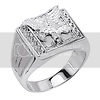 .925 Sterling Silver CZ Soaring Eagle Mens Ring