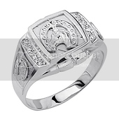 .925 Sterling Silver CZ Lucky Horseshoe Mens Ring
