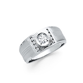 .925 Sterling Silver CZ Fluted Diamond Cut Mens Ring