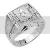 .925 Sterling Silver CZ Embossed Diamond Cut Mens Ring